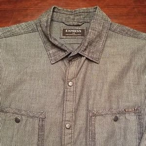 Express Large Button Down Gray Striped Shirt